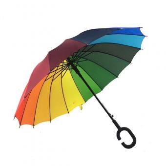 Colorful Rainbow C handle Umbrella